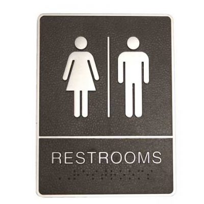 Black & Chrome Rectangle 'Restrooms' Sign, ABS Plastic