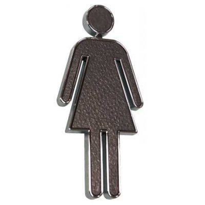 Black & Chrome Rectangle 'Ladies' Sign, ABS Plastic
