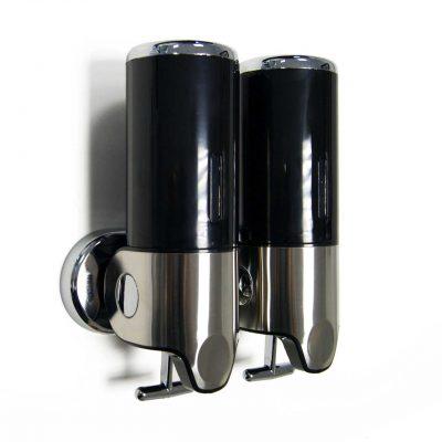 Black Wall Mounted Bathroom Shower Dispenser Double
