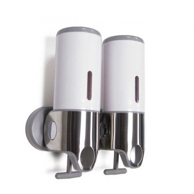 White Wall Mounted Bathroom Shower Dispenser Twin
