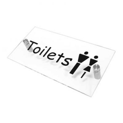 Clear Arcylic Toilets Sign