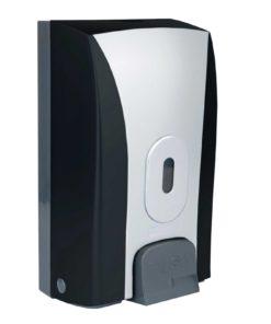 Push Button Bulk Fill Dispenser, ABS Plastic Black/Silver